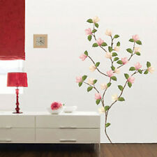DIY Flower Tree Wall Stickers Magnolia Cherry Blossoms Removable Vinyl Decals