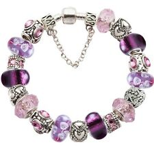 Elite Completed LOVE European Charm Bracelet w/Cz Silver Murano Glass Beads