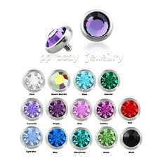 14G~4mm Flat CZ Internally Threaded Dermal Anchor Top 13 Colors (Specify Color)