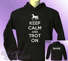 Black Hoodie KEEP CALM and TROT ON horse ride riding PERSONALISED with name