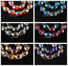 30 Charms Beautiful Faceted Crystal Teardrop Spacer Finding Beads 18x13mm Colors