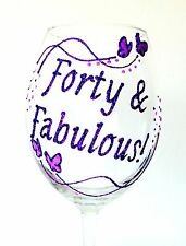 Personalised 40th Birthday Gifts Butterfly Champagne Wine Glass Forty & Fabulous