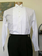 "white formal retro steampunk wing tip collar tuxedo shirt 1/4"" pleats downton"