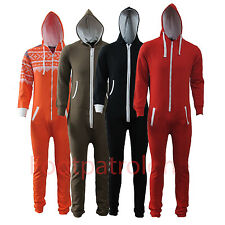 Unisex Womens Mens Plain All In One Piece Hooded Onesie Zip Up Playsuit Jumpsuit