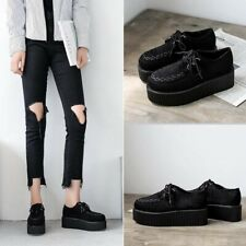 Womens Lady Lace Up Punk Goth High Heel Platform Sneakers Creeper Athletic Shoes
