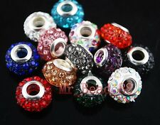 14 Crystal Rhinestone Pave European Bracelet Finding Beads 14mm Fit 4mm Cord New