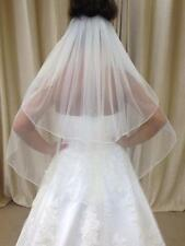 Ivory/White 2 Tier Waist Length Wedding Veil With Scattered Crystals Pencil Edge