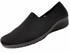 NEW WOMENS STRETCH WORK CASUAL COMFORT SHOES LOW WEDGE HEEL SIZES 3 4 5 6 7 8