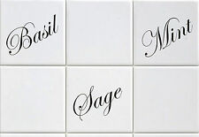 "Tile Transfers stickers Herb basil sage mint to fit 4"" and 6"" tiles Pack of 12"