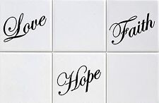 """Tile Transfers stickers  Love, Hope, Faith to fit 4"""" and 6"""" tiles Pack of 12"""