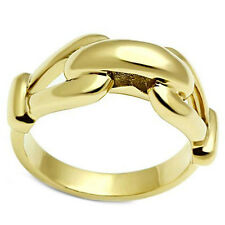 Ladies No Stone Fastened Chain Gold Lust Plated Ring