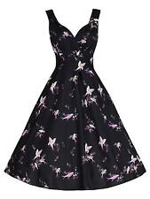 Ladies 1940's / 1950's Vintage Style Black Birds Flared Cotton  Swing Tea Dress
