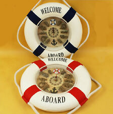 Welcome Aboard Life Ring Buoy Rope Home Decor Ship Quartz Wall Clock Multi-size