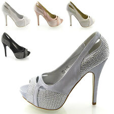 LADIES DIAMANTE PEEP TOE WOMENS DRESSY EVENING PROM HEELS WEDDING BRIDAL SHOES