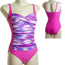 Ladies Beachcomber Twist Front Swimsuit Watery Print Ruched Pink Lilac White