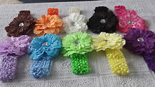 GIRLS WOMAN HEAD BANDS with flower 11 colours available