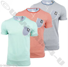 MENS FASHIONABLE CROSSHATCH T-SHIRT WITH DENIM POCKET DETAIL SUMMER COLOURS