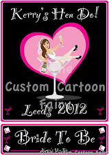 Personalised iron on T-shirt transfer for a Hen Do with a name plate on A4