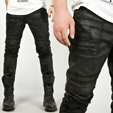 New Mens Fashion Unique Hardcore Vintage Wax Coated Black Slim Biker Jeans Pants