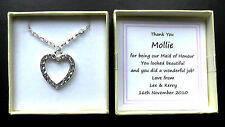 BRIDESMAID THANK YOU GIFT PERSONALISED BOX OPEN HEART NECKLACE MAID HONOUR BRIDE