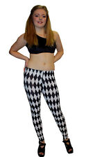 LADIES BLACK & WHITE HARLEQUIN DIAMONDS PRINT LEGGINGS GOTH PUNK EMO GOTHIC