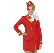 Ladies Air Hostess Fancy Dress Virgin Trolly Dolly Outfit Cabin Crew Hen