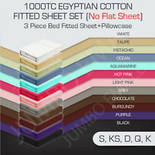 1000TC Egyptian Cotton 3 Piece Bed Fitted Sheet Set Pillowcase(No Flat Sheet)