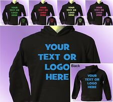 Black Hoodie PERSONALISED TEXT or LOGO your name custom you choose printing