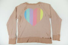 Wildfox Couture Prism Heart Destroyed Sweater in Tan Line NWT