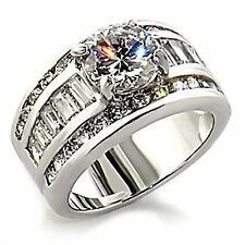 Large 5.2ct Stacked 3 in 1 Russian Ice CZ Bridal Wedding Ring Set 925 Silver