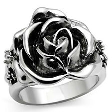 Flower With Two Small Stones Silver Rhodium EP Ladies Ring