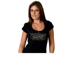 "Ladies Filigree Short Sleeve T-Shirt ""All American Biker Girl""."