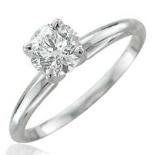 14k White Gold Solitaire Diamond Engagement Ring Band ( GH, SI3-I1, 0.38 carat )