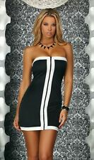 Sexy Clubwear Clubbing Strapless White Black Zipper Front Tube Dress