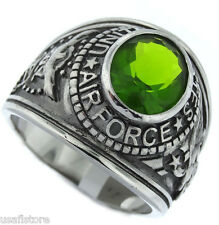 US Air Force Peridot  Green Military Silver Stainless Steel Ring