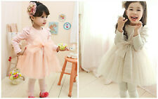 1544 Boutique Ruffle Shoulder Cotton Lace Dress Soft Tulle Bow & Sweep Overlay