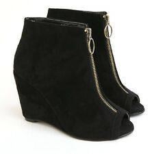 round peep toe front zipper ring fastening black wedge heel ankle boots
