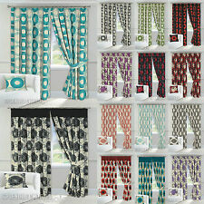 Lined Half Panama Ready Made Tape Top Pencil Pleat Curtains +Tie Backs All Sizes