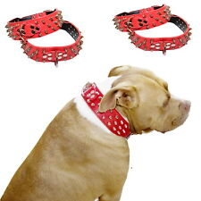 LARGE BREED Spiked RED Leather Dog Collar - Staffy Stud Spike Studded XL L Big