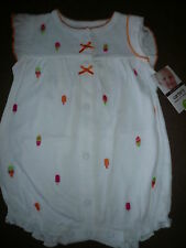 NWT~ Carters Infant Girls 1 Piece Speedy Exit Creeper, White.