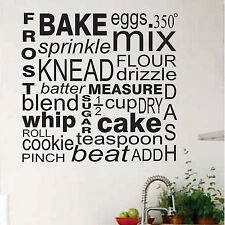 Kitchen Vinyl Wall Lettering Baker Cooking Word Collage Subway Art  22 x 22