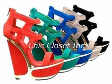 Women NEW Gold Trim Platform Wedge High Heel Strap Sexy Ankle Top Sandals Shoes