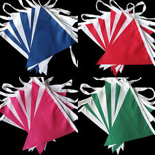 New red green blue pink white fabric bunting 10ft/3mtr LOTS OF COLOURS TO CHOOSE
