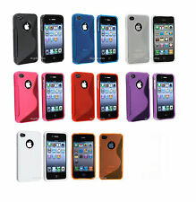 Hot Pink TPU Silicone S shape Cover Case Apple iPhone 4G 4S 4