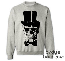 SKULL TOP HAT BOW TIE BONES SKELETON SWEATER SWEATSHIRT JUMPER WOMENS GRUNGE NEW