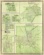 FRANKLIN / SHELBYVILLE / GREENWOOD INDIANA/IN MAP 1876