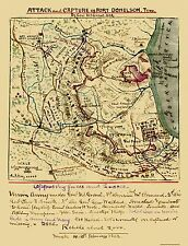 Civil War Map Print - Ft. Donelson Tennessee - 1862 - 23 x 30