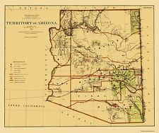 Old State Maps - ARIZONA (AZ) TERRITORY MAP BY THE DEPT. OF THE INTERIOR 1876