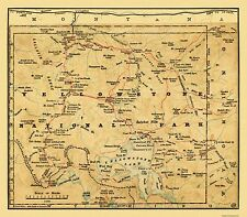 Old State Maps - YELLOWSTONE NATL PARK WYOMING (WY) MAP BY POOLE BROS. 1880