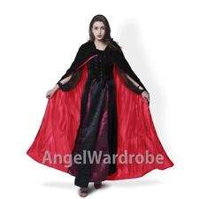 New Black Velvet Red Satin Hooded Cloak Halloween Wedding Cape Wicca LARP Sca